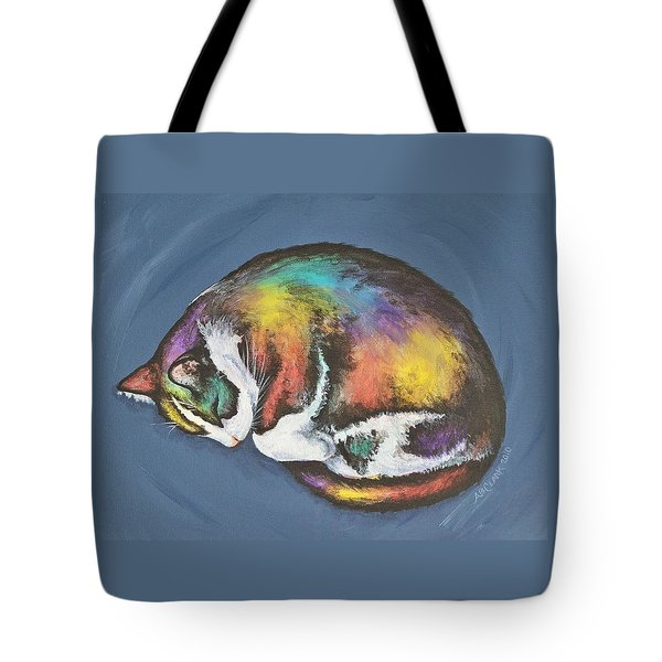 She Purrs In Color Tote Bag by Beth Clark-McDonal