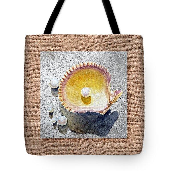She Sells Seashells Decorative Collage Tote Bag by Irina Sztukowski