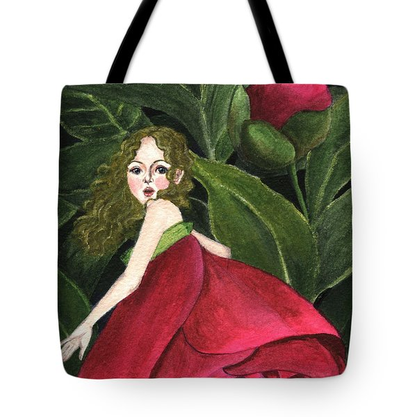 She Stole A Peony To Wear Tote Bag by Jingfen Hwu