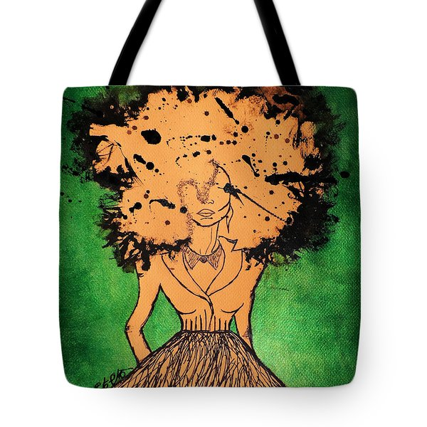 Tote Bag featuring the painting She by Tarra Louis-Charles