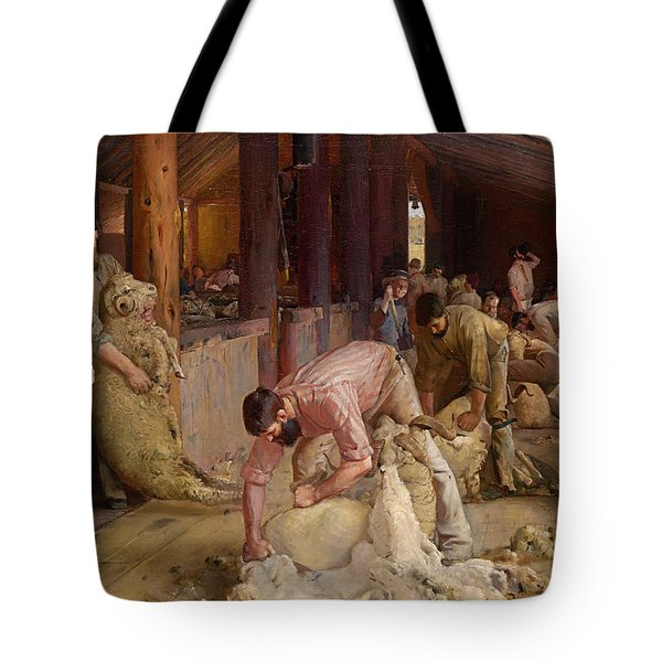 Shearing The Rams  Tote Bag by Tom Roberts