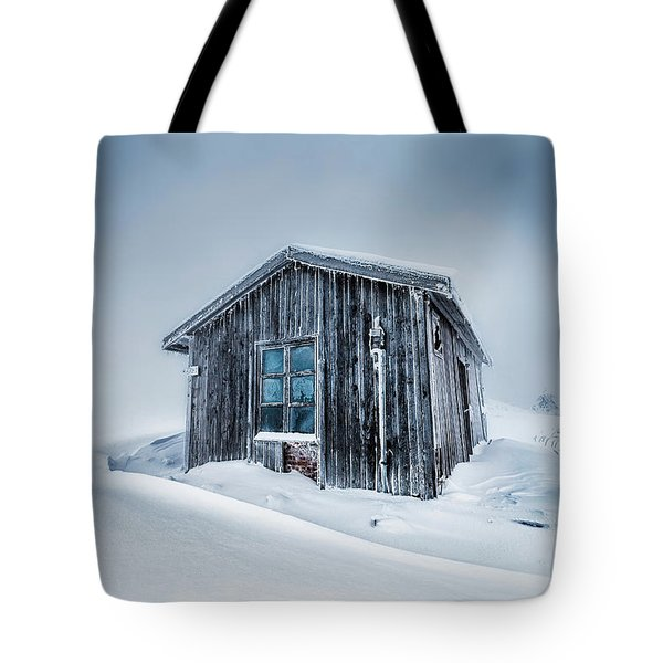 Shed In The Blizzard Tote Bag by Evgeni Dinev