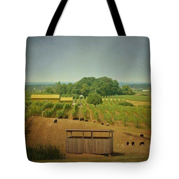 Sheep Among The Vineyards Tote Bag by Maria Janicki
