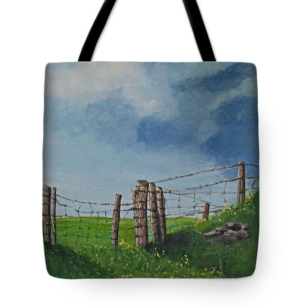 Sheep Field Tote Bag by Barbara McDevitt