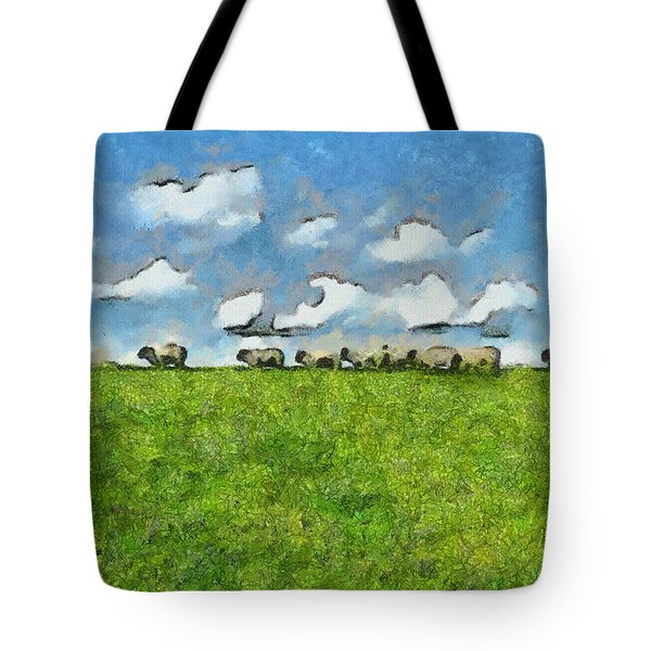 Sheep Herd Tote Bag by Inspirowl Design