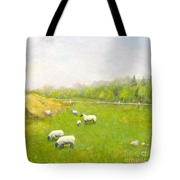 Sheep In Pasture Tote Bag
