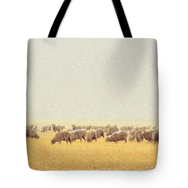Sheep In Snow Tote Bag