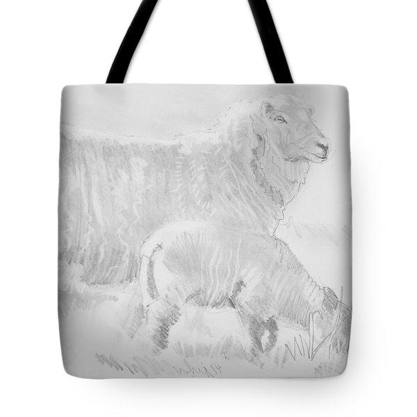 Sheep Lamb Pencil Drawing Tote Bag