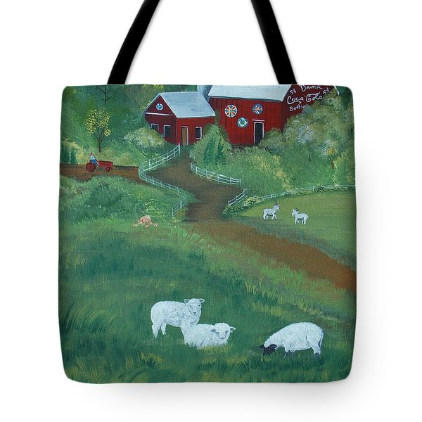 Tote Bag featuring the painting Sheeps In The Meadow by Virginia Coyle