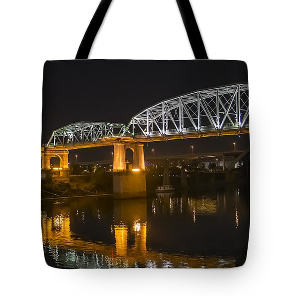 Tote Bag featuring the photograph Shelby Street Bridge Nashville by Glenn DiPaola
