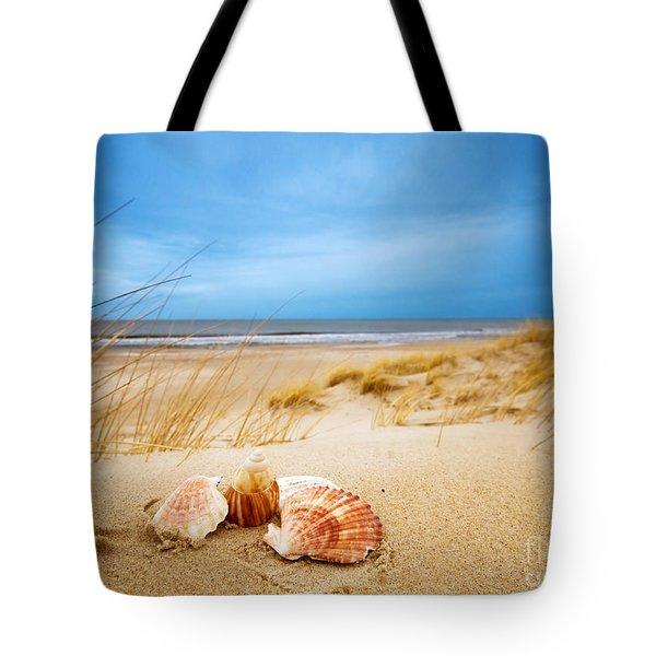 Shells On Sand Tote Bag by Michal Bednarek