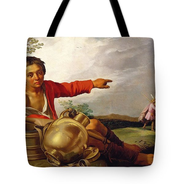 Shepherd Boy Pointing At Tobias And The Angel Tote Bag by Abraham Bloemaert