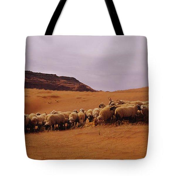 Shepherd Herding A Flock Of Sheep Tote Bag