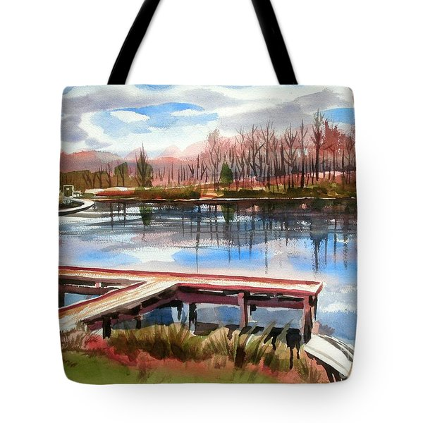 Shepherd Mountain Lake In Winter Tote Bag by Kip DeVore