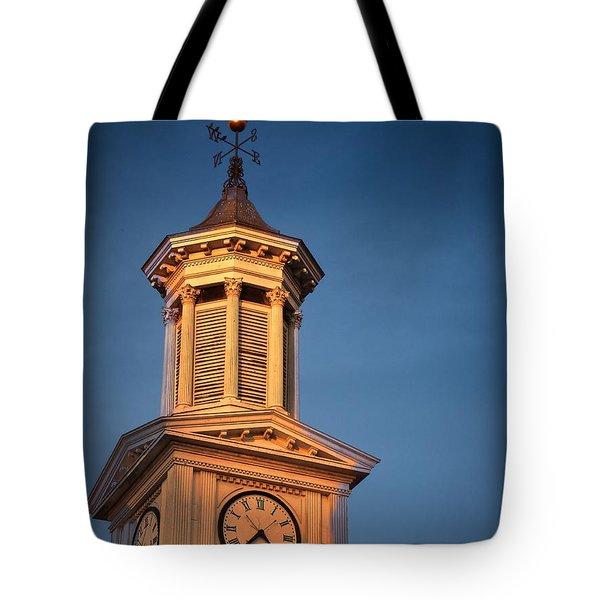 Shepherd University - Mcmurran Clock Tower At Twilight Tote Bag by Julia Springer