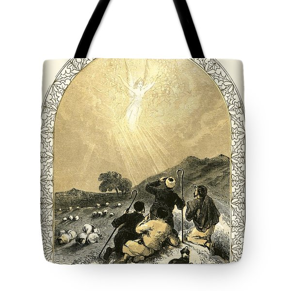 Shepherds And Angel Tote Bag by Miles Birkett Foster