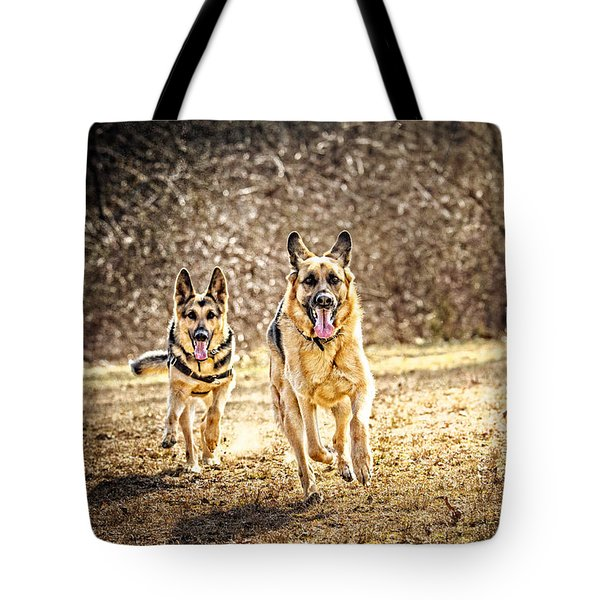 Shepherds On The Run Tote Bag by Eleanor Abramson