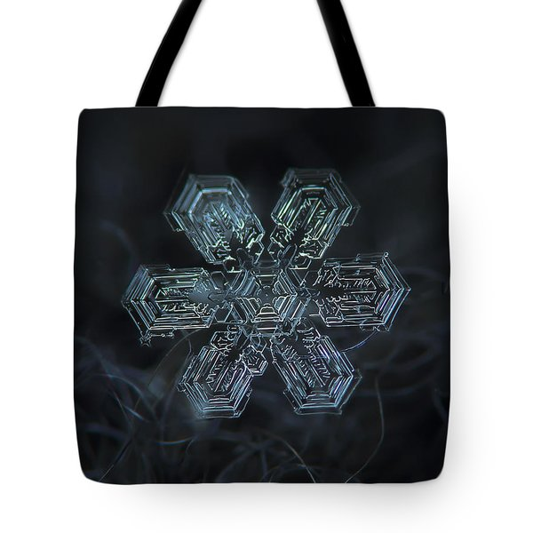 Tote Bag featuring the photograph Snowflake Photo - Shine by Alexey Kljatov