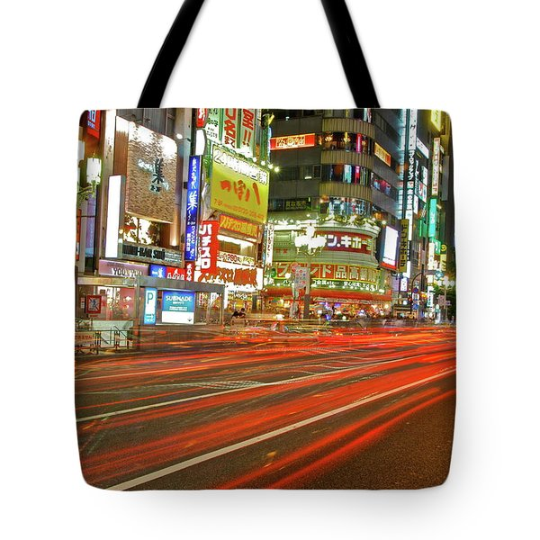 Shinjuku Neon Strikes Tote Bag by Jonah  Anderson