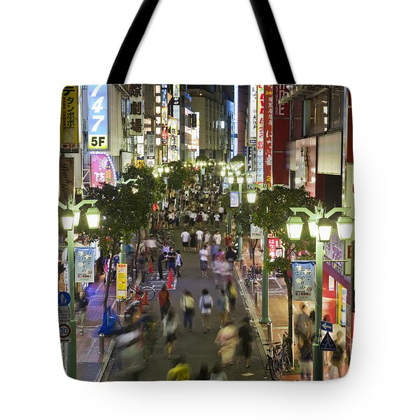 Shinjuku Street Scene At Night Tote Bag
