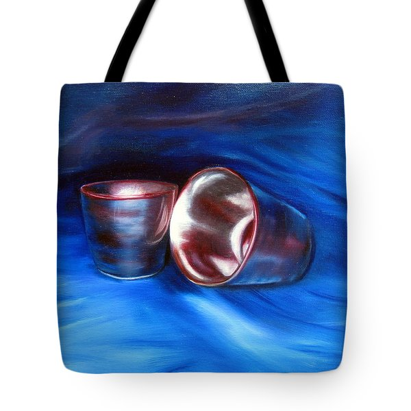 Tote Bag featuring the painting Shiny Metal Cups Study by LaVonne Hand