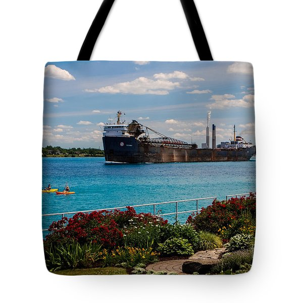Ship And Kayaks Tote Bag