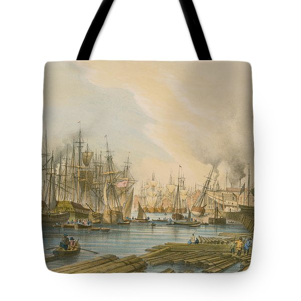 Ship Building At Limehouse Tote Bag by William Parrot
