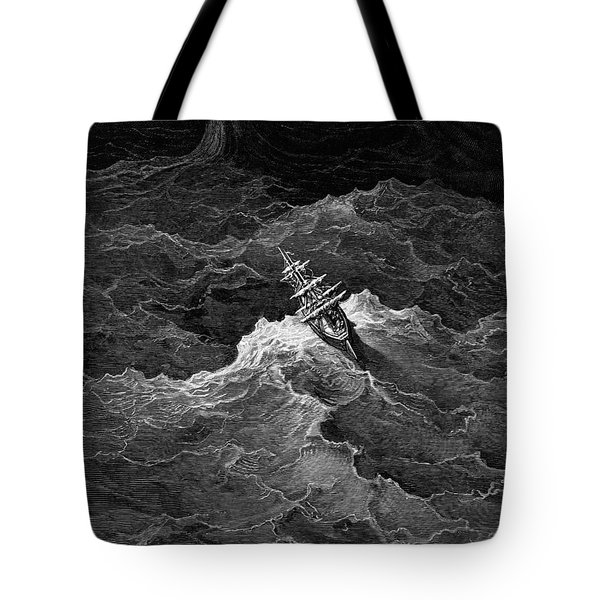 Ship In Stormy Sea Tote Bag