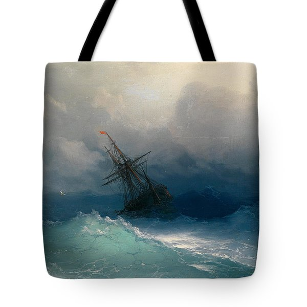 Ship On Stormy Seas Tote Bag