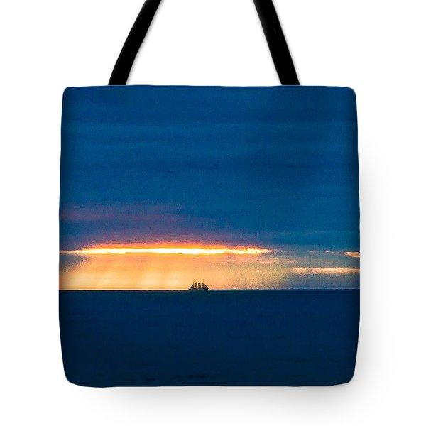 Ship On The Horizon Tote Bag