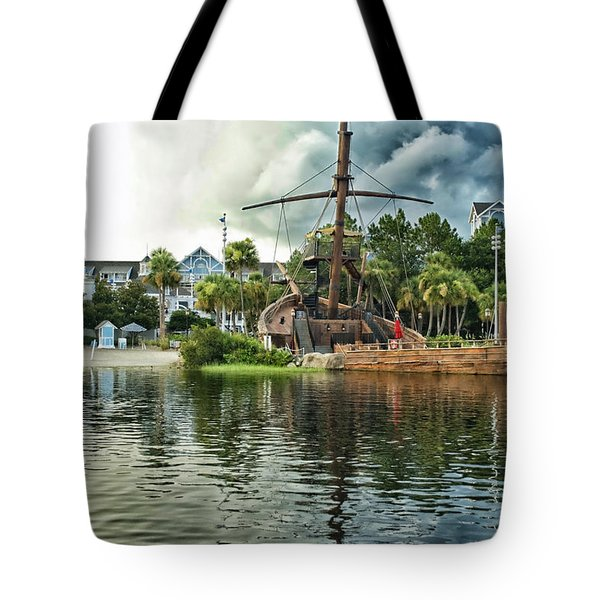 Ship Wrecked At The Disney Yacht And Beach Club Resort Tote Bag by Thomas Woolworth