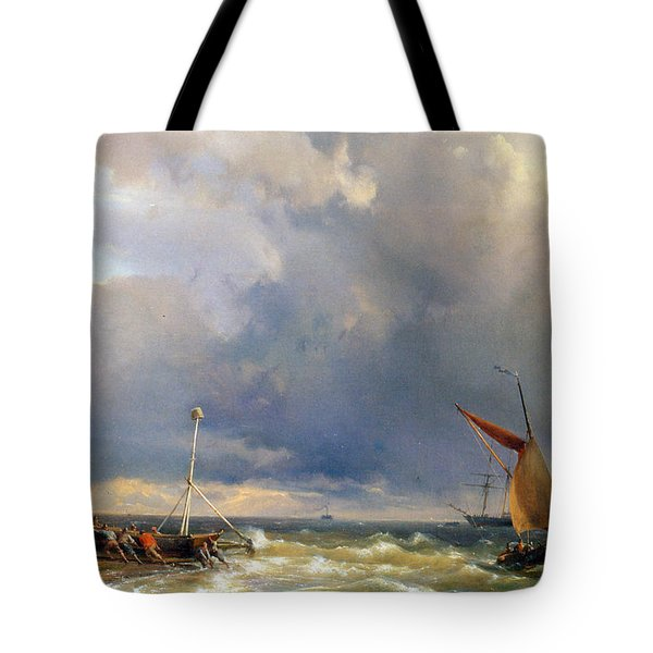 Shipping In A Stiff Breeze Tote Bag by Hermanus Koekkoek