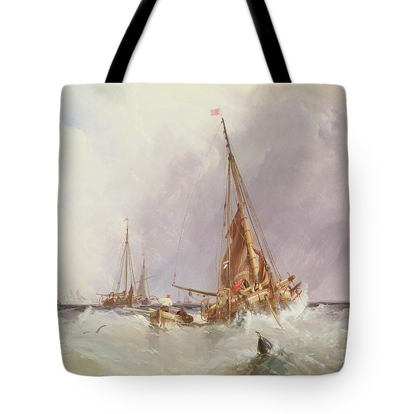 Shipping In The Solent 19th Century Tote Bag by George the Elder Chambers