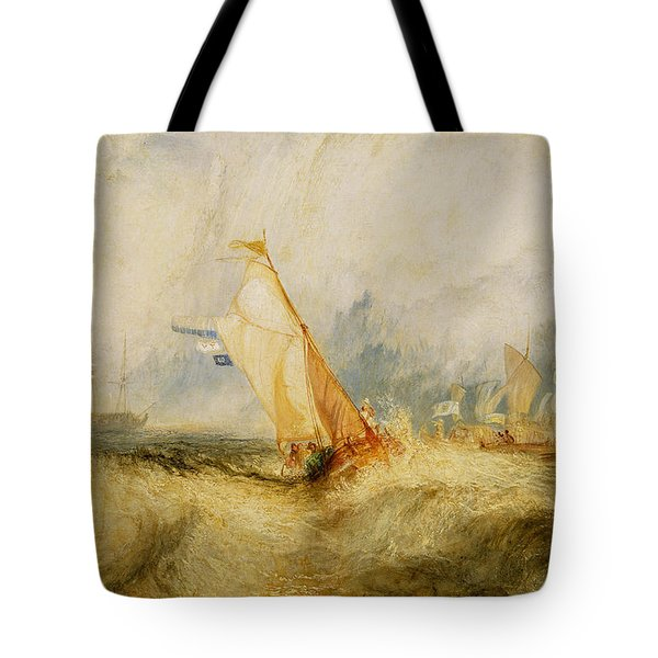 Ships A Sea Getting A Good Wetting Tote Bag by Joseph Mallord