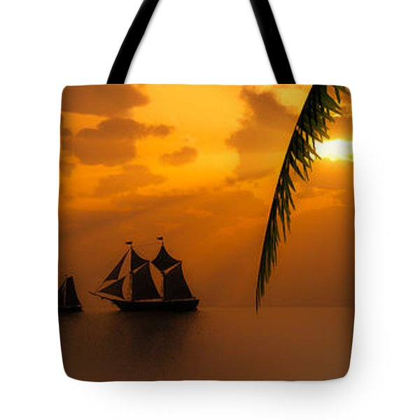 Ships And The Golden Dawn... Tote Bag by Tim Fillingim