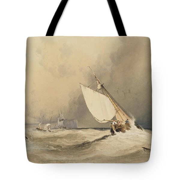 Ships At Sea Off Folkestone Harbour Storm Approaching Tote Bag by Anthony Vandyke Copley Fielding