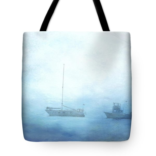 Ships In The Morning Haze  Tote Bag