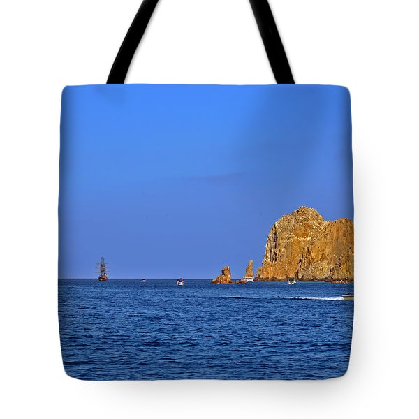 Tote Bag featuring the photograph Ships Lining Up At Land's End by Christine Till