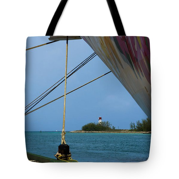 Ship's Ropes And Lighthouse Tote Bag