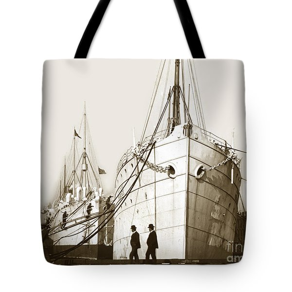 Tote Bag featuring the photograph Steam Ships San Francisco California   Circa 1900 Historical Photo by California Views Mr Pat Hathaway Archives
