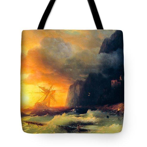 Shipwreck At Mount Athos Tote Bag