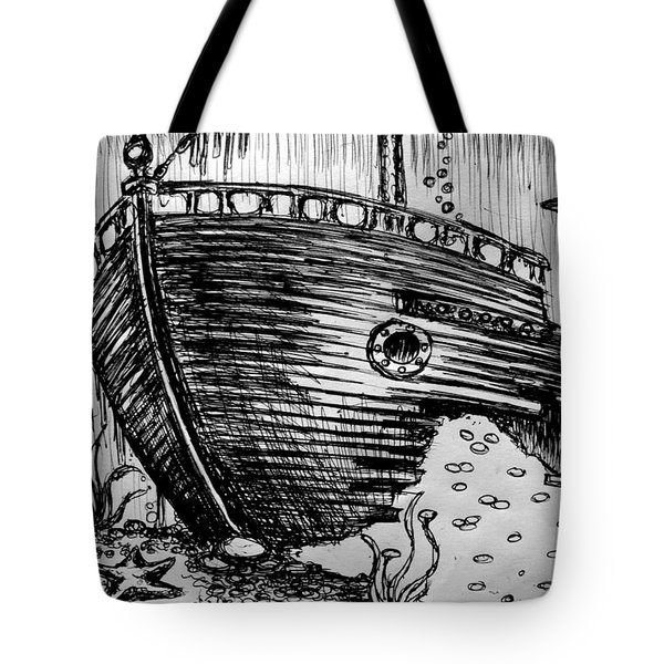 Tote Bag featuring the painting Shipwreck by Salman Ravish