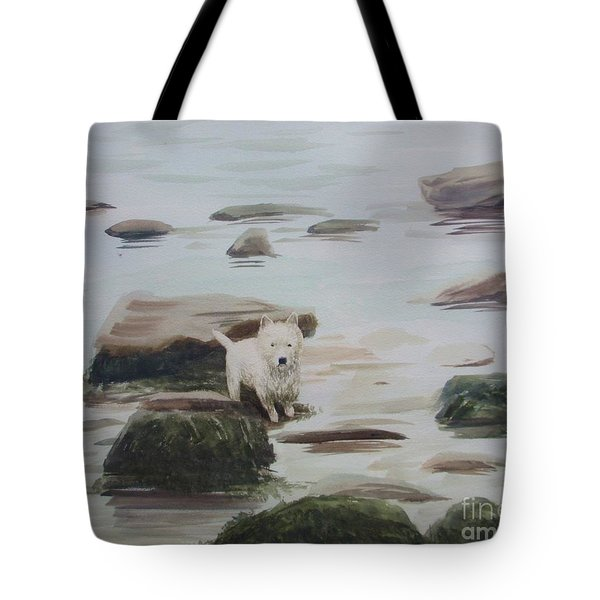 Tote Bag featuring the painting Shirley's Dog by Martin Howard