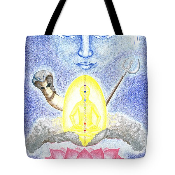 Tote Bag featuring the drawing Shiva by Keiko Katsuta