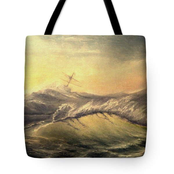 Tote Bag featuring the painting Shivering Beauty Of Storm by Mikhail Savchenko