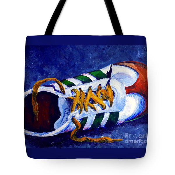 Tote Bag featuring the painting Shoeless by Jackie Carpenter