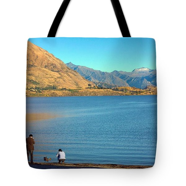 Tote Bag featuring the photograph Shooting Ducks On Lake Wanaka by Stuart Litoff