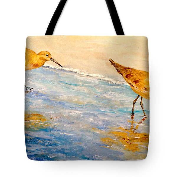Tote Bag featuring the painting Shore Patrol by Alan Lakin