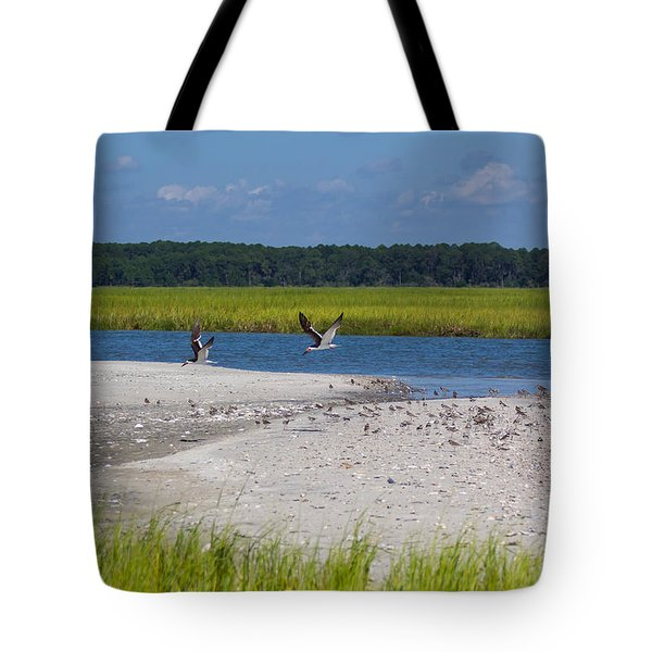 Shorebirds And Marsh Grass Tote Bag