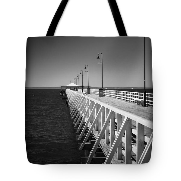 Tote Bag featuring the photograph Shorncliffe Pier In Monochrome by Peta Thames